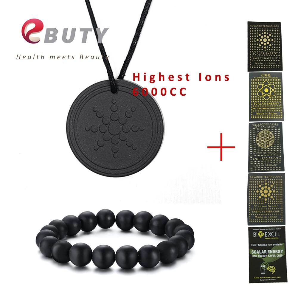 Cheapest!!! EBUTY Natural Men Bracelets Black Natural Stone Female Jewelry Beads Tourmaline Charms Pendant 6000CC