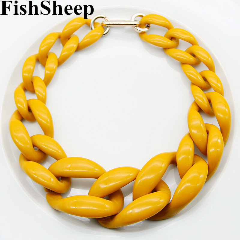 FishSheep Punk Acrylic Chunky Chain Choker Necklace Statement Long Chain Link Big Pendants Necklaces 2019 Fashion Women Jewelry(China)