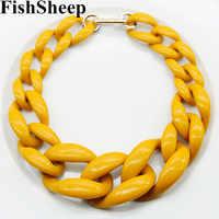 FishSheep Punk Acrylic Chunky Chain Choker Necklace Statement Long Chain Link Big Pendants Necklaces 2019 Fashion Women Jewelry