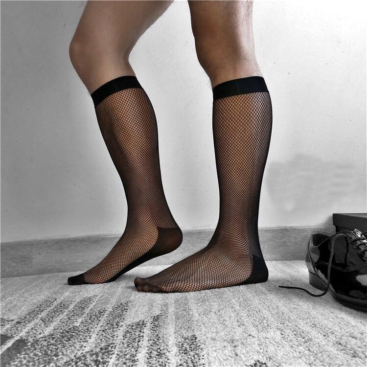 2018 Japanese dress slim men European and American non-stockings Japanese business black mesh sexy fashion