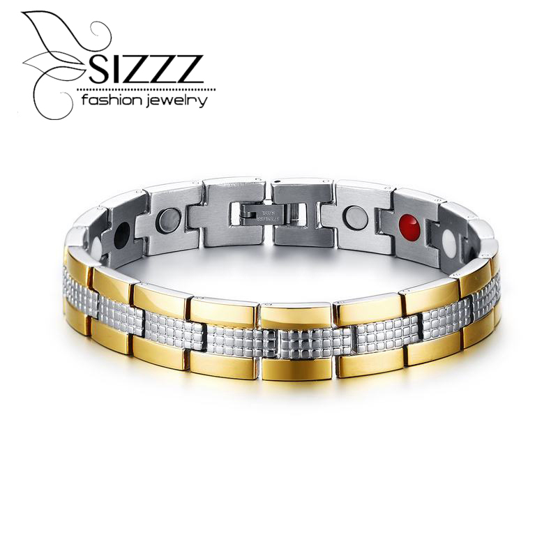 SIZZZ Stainless Steel Magnet Factory Direct Custom Made Wholesale Men Trend Magnetic Bracelet&Bangles