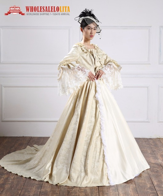 a829159422c458 Hoge Kwaliteit Vakantie Champagne Barokke Marie Antoinette Jurk 18e Eeuw  Renaissance Historische Periode Kostuums