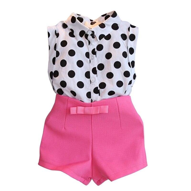 girls clothes 2017 kids clothes polk dot tops+pink pants 2pcs casual suit Baby sport suits