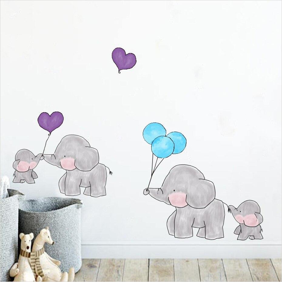 Cartoon Elephant Dots Balloon Wall Stickers Animal Kids Room Decoration Vinyl Wallpaper Baby Bedroom waterproof Decals