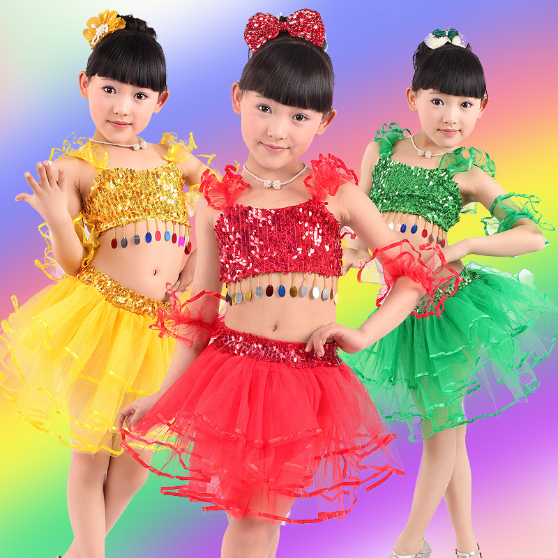 Children's Performance stage Dance Skirt Girls Modern sequins Latin dance skirt yarn skirt new year performance costume JQ-195