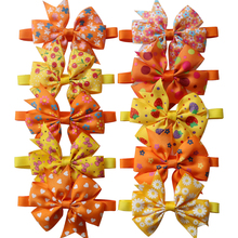 100pcs Fall Pet Cat Dog Grooming Accessories Orange Thanksgiving Supplies Bow Ties  Samll-middle Bowties