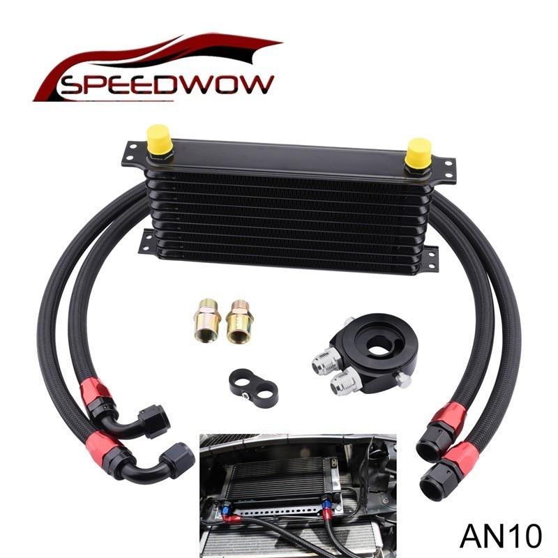 evil energy 10Row AN10 Engine Transmission Oil Cooler Kit+AN10 Seprator Divider Clamp+Oil Filter Cooler Sandwich+Fuel Hose Line