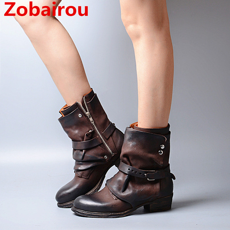 Zobairou Botas Mujer Combat Motorcycle Western Cowboy Boots Genuine Leather Women Ankle Boots Horse Riding Autumn Winter Shoes