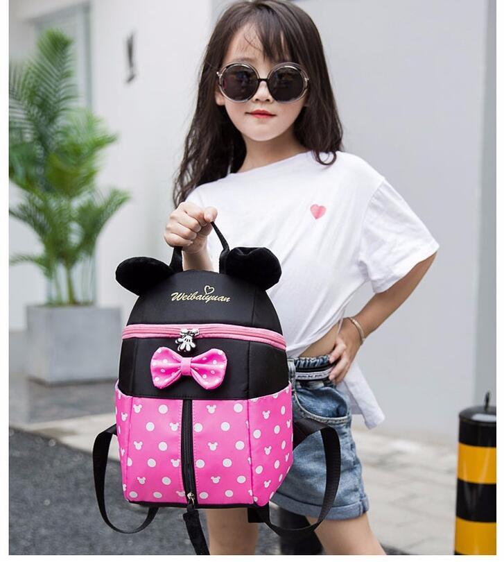 New Cartoon Backpack Minnie Mickey Print Schoolbag Kindergarten/Primary School Kids Bags Infantil Mochila For Baby Girls