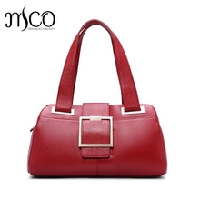 Woman Handbags Designer Genuine Leather Bag Fashion Boston Shoulder Bags Female Purse Blue/Red Tote Cow Leather Top-handle bags