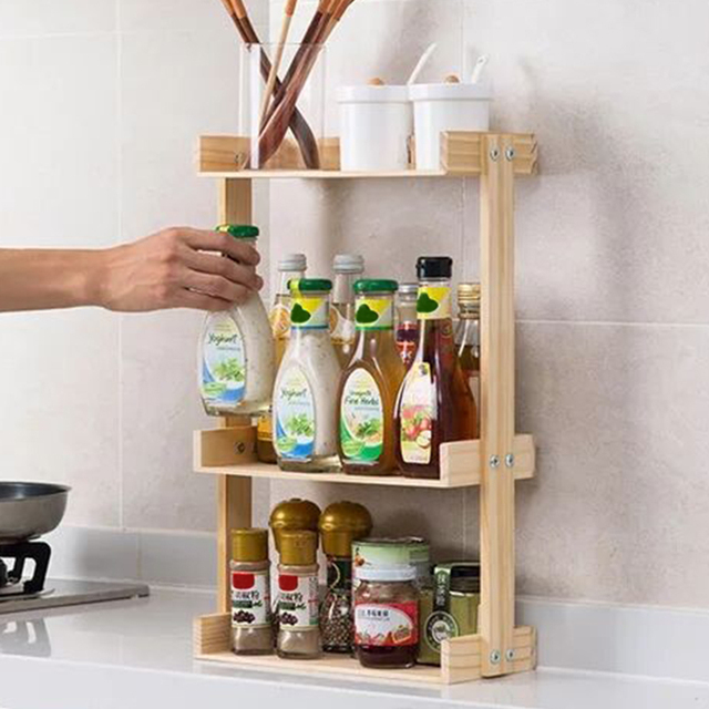 Multi layer Kitchen Condiment  Rack Wooden Large Capacity Multifunction Durable Storage Countertop Stand Herbs Jars Home