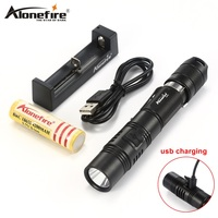 AloneFire X470 Mini Portable Rechargeable Led Flashlight 18650 EDC USB Charging Torch Cree XPL Flashlight Waterproof