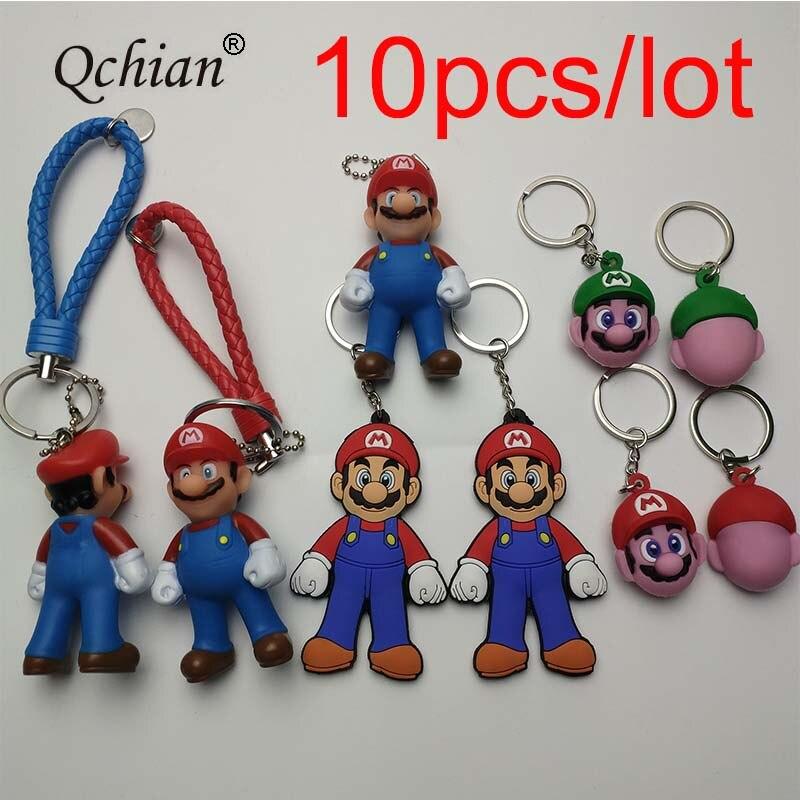 10 unids/lote Super Mario Bros llavero de figura Mario Luigi PVC juguetes de acción llaves bolsa coche colgante llavero joyería chaveeros chico Juguetes