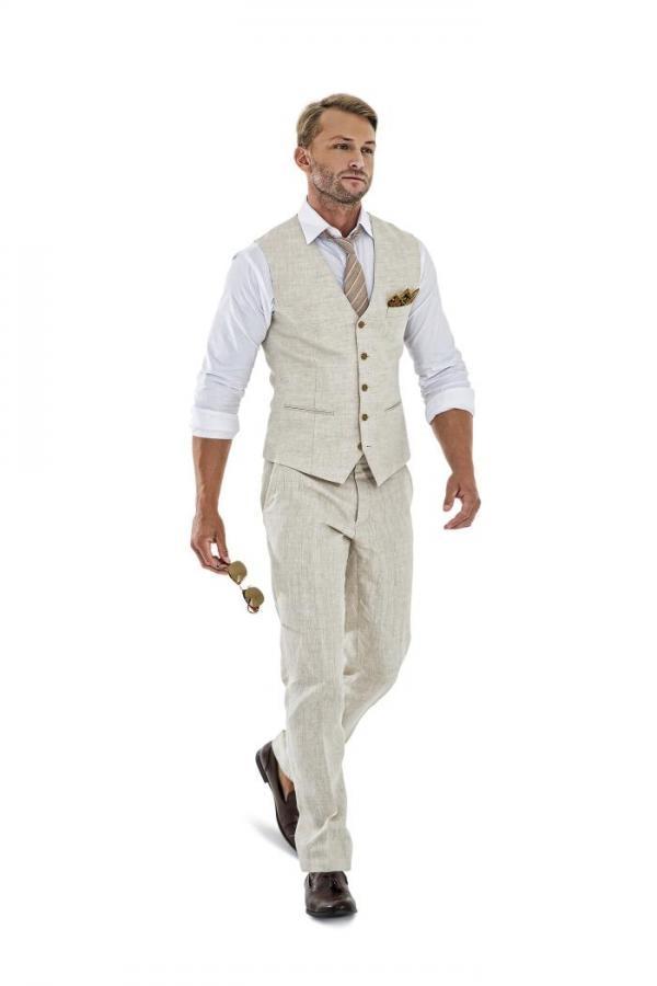 2017 Latest Coat Pant Designs Ivory Linen Men Vest Coat Summer Colete Formal Beach Suits