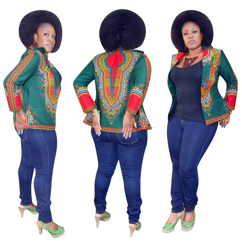 African Dashiki Bomber Floral Print Jacket Coat Women Boho Flower Blazer Suits Hippy Notched Collar Overcoat Clothes For Ladies