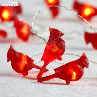 10ft 3M Christmas Led String Lights Big 3D Cardinals Red Snow Birds Snowbird Fairy Light Lighting New Year Xmas Tree Decorations