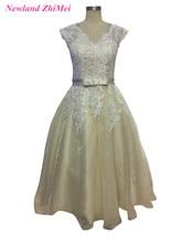 Champagne Tea Length Wedding Dresses 2017 Elegant V Neck Lace Backless Short A Line Bridal Gowns with Belt New Fashion