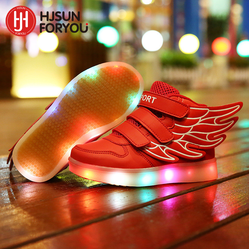 2018 Fashion New brand children shoes USB charging sneakers kids LED lighted flashing sports shoes boys girls casual shoes