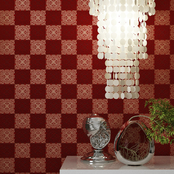 ФОТО Simple Modern Lattice Non-Woven Wallpaper 3D Living Room Background Televisores behang woonkamer Red Grey Green Plaid Wallpaper