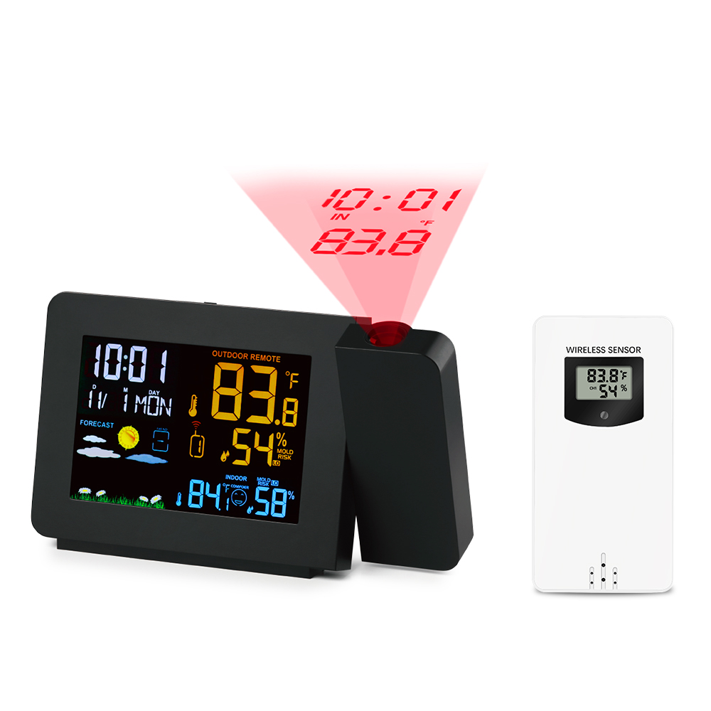 New Projection Alarm Clock Weather Station Snooze Function Colorful Back light Desk Table Led Clock With