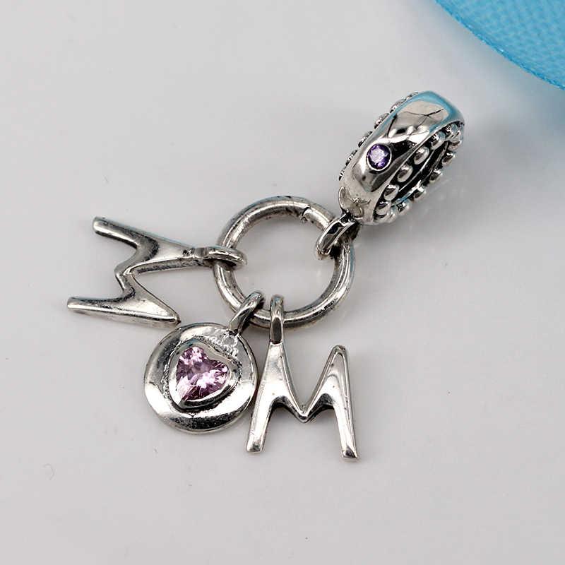 Новые Аутентичные 925 стерлингового серебра любовь мать бисера мама розовый бисер Fit Pandora Браслеты Женские DIY ювелирные изделия
