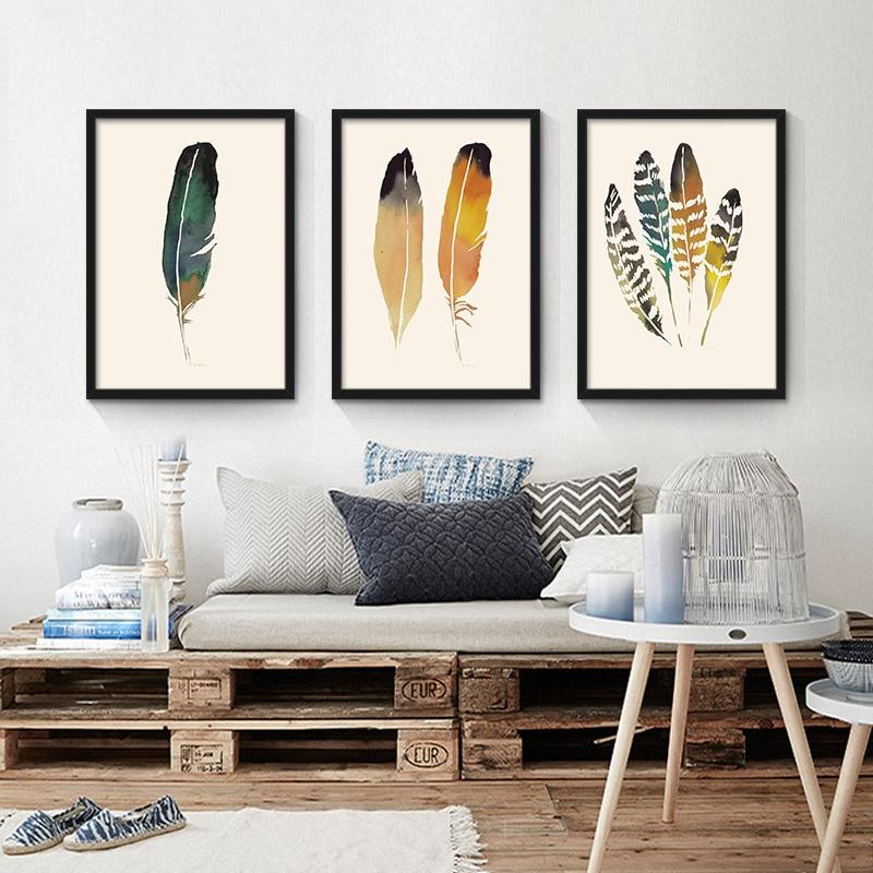 Ručně malované barevné peří Obrazy Nástěnné malby Obrázek na plátně Abstraktní dekorace peří Moderní olejomalba plakáty