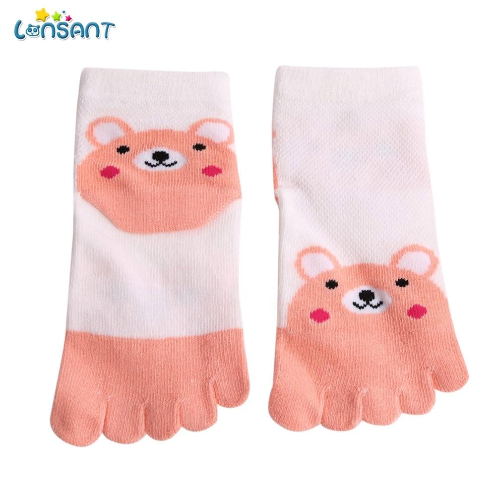LONSANT 2018 Fashion Toddler Baby Kids Girls Socks Boy Cartoon Animal Five Fingers Anti Slip Cotton Socks Cotton Unisex Socks