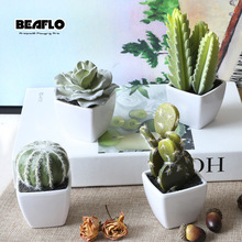 1Set Mini Potted Succulents Cactus Bonsai Keinotekoinen kukka Fake Floral Wedding Party Party Koristeellinen 4 väriä B3105