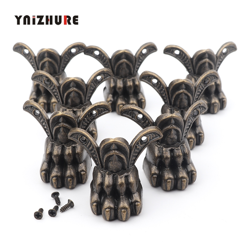 8Pcs Zinc Alloy Beast Footing Decoration Legs Vintage Wooden Win Box Animal Feet Cabinet Corner Bronze Tone Color