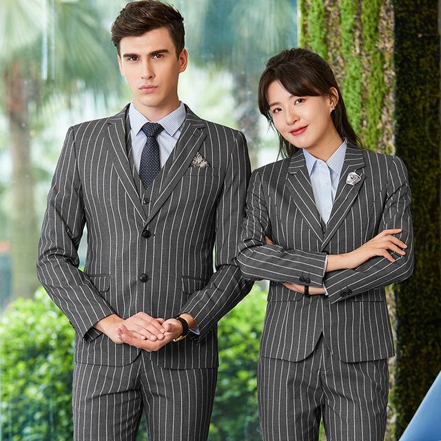 2018 formal Gray stripe slim Men's suit show costume clothes clothing wedding suits with pants plus size tuxedo tweed for dress