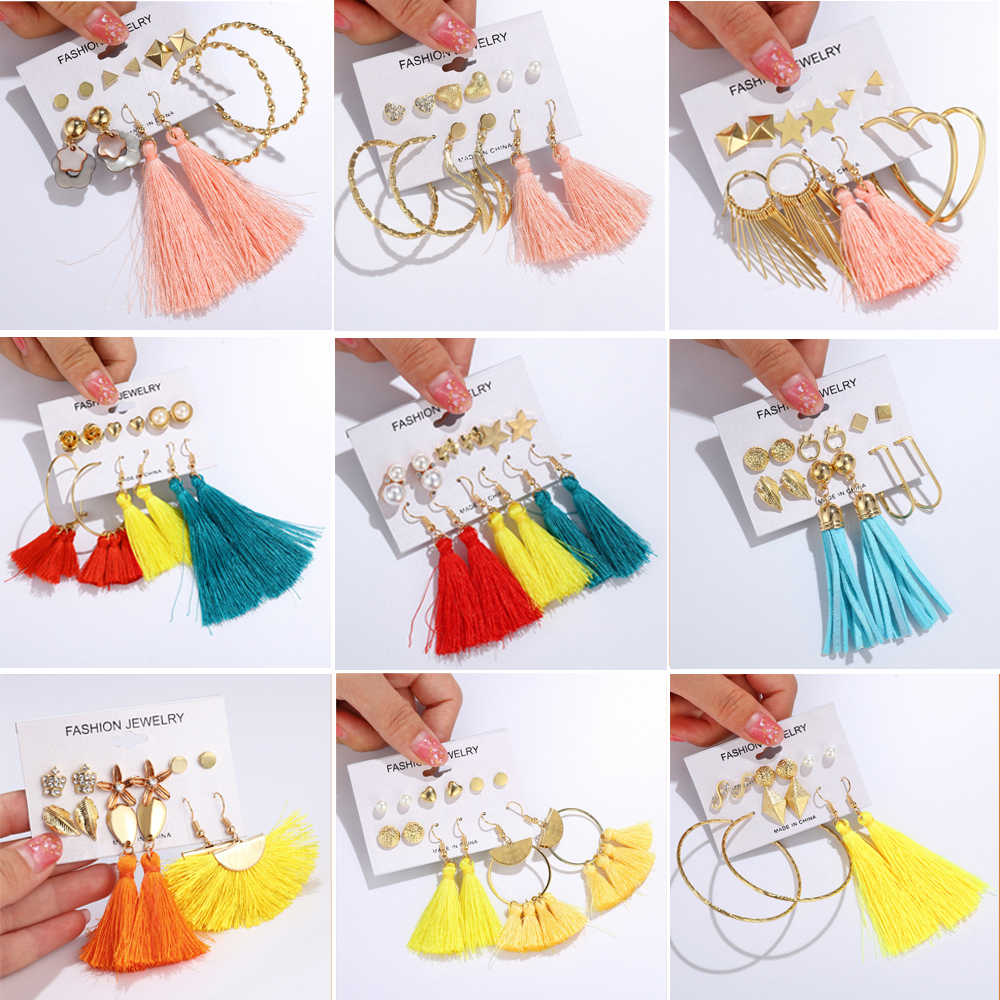 35 Styles Women Long Tassel Earrings Sets Gold Color Circle Heart Star Moon Shell Crown Simulated Pearl Earrings Crystal Brincos
