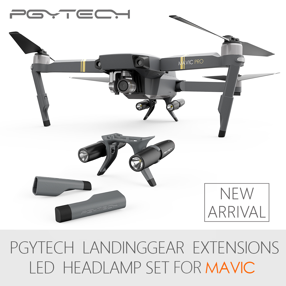 New Arrival PGYTECH Landing Gear Extensions LED Head lamp light set for DJI Mavic Pro (without batteries)