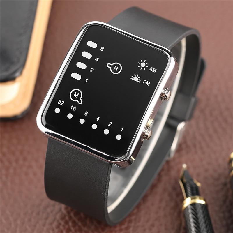 Cool LED Binary Watch Blue Backlight Fashion Men Women Geek Digital Wristwatch Soft Black Silicone Band Sport Watches Army Clock