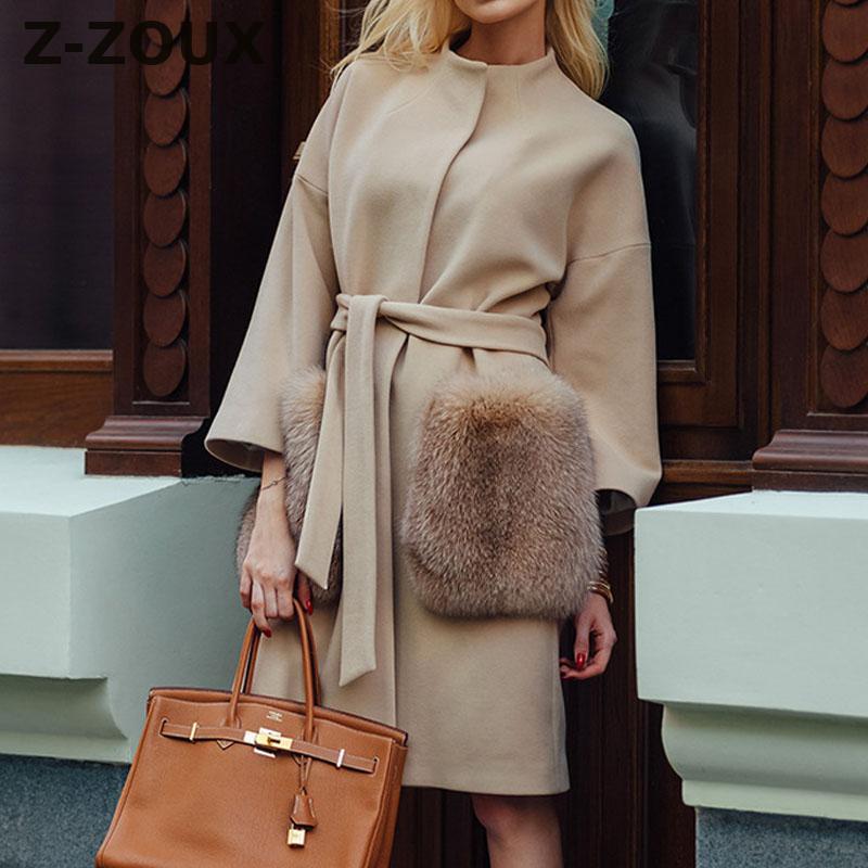 Z ZOUX Women Coat Winter Single Breasted Double Faced Woolen Overcoat Long Sleeve Lace Up Winter Jacket Women Long Coats New XXL
