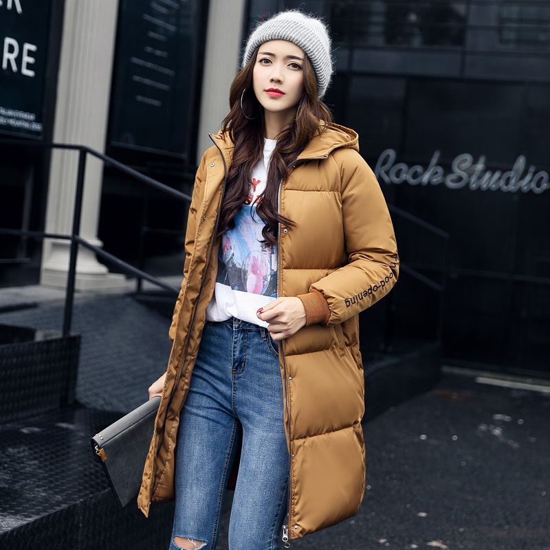2017 New Fashion Winter Parkas Female Hooded Letters Pattern Print Thicken Cotton Wadded Loose Long Sleeve Jacket Female Outwear 2015 new mori girl wave raglan hooded loose sleeve medium long wadded jacket female