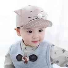 Lindo gato sombrero del verano del bebé del gatito de la historieta orejas  niñas Sol de béisbol Soft Brim niños sol sombrero pla. 9ed6d87a872