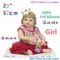 23 Cali Dziewczyna Pełna Silikon Reborn Reborn Baby Dziewczyny Lalki Realistyczne Lalki Sztuczne Otwarte Oczy Zabawki Przedszkole RB18-4