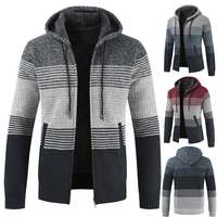 2018 autumn and winter hot sale explosions men's cardigan sweater hooded stripes slim casual plus velvet thick coat
