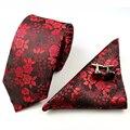 2016 Floral 100% Seda Jacquard Mans Corbata Corbata Gravata corbatas Hanky Gemelos Tie Set for Men Formal Del Banquete de Boda