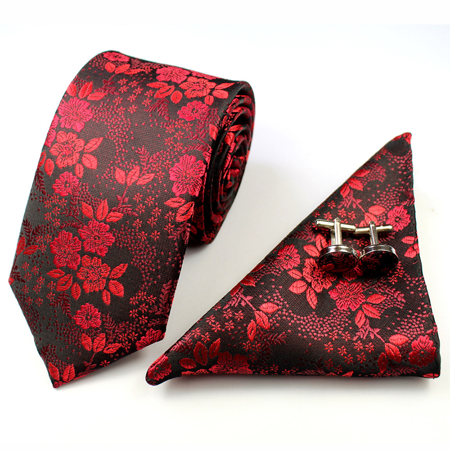 GUSLESON 2017 Mans Tie Floral 100% Silk Jacquard Necktie Gravata Corbatas Hanky Cufflinks Tie Set For Men Formal Wedding Party