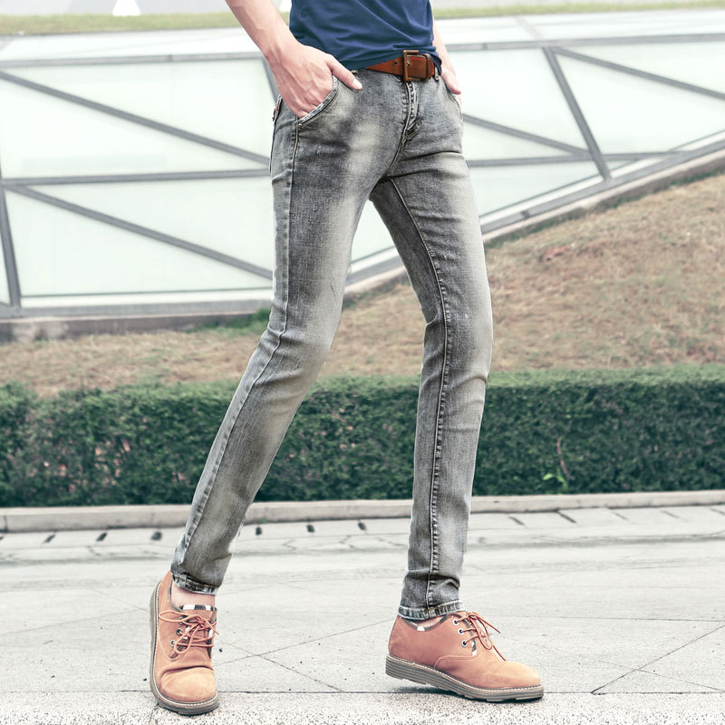 NEW 2015 summer style skinny jeans men fashion slim brand bleached vintage  jeans plus size gray cotton casual pencil pants 8172-in Jeans from Men s  Clothing ... 504a7fe9c089
