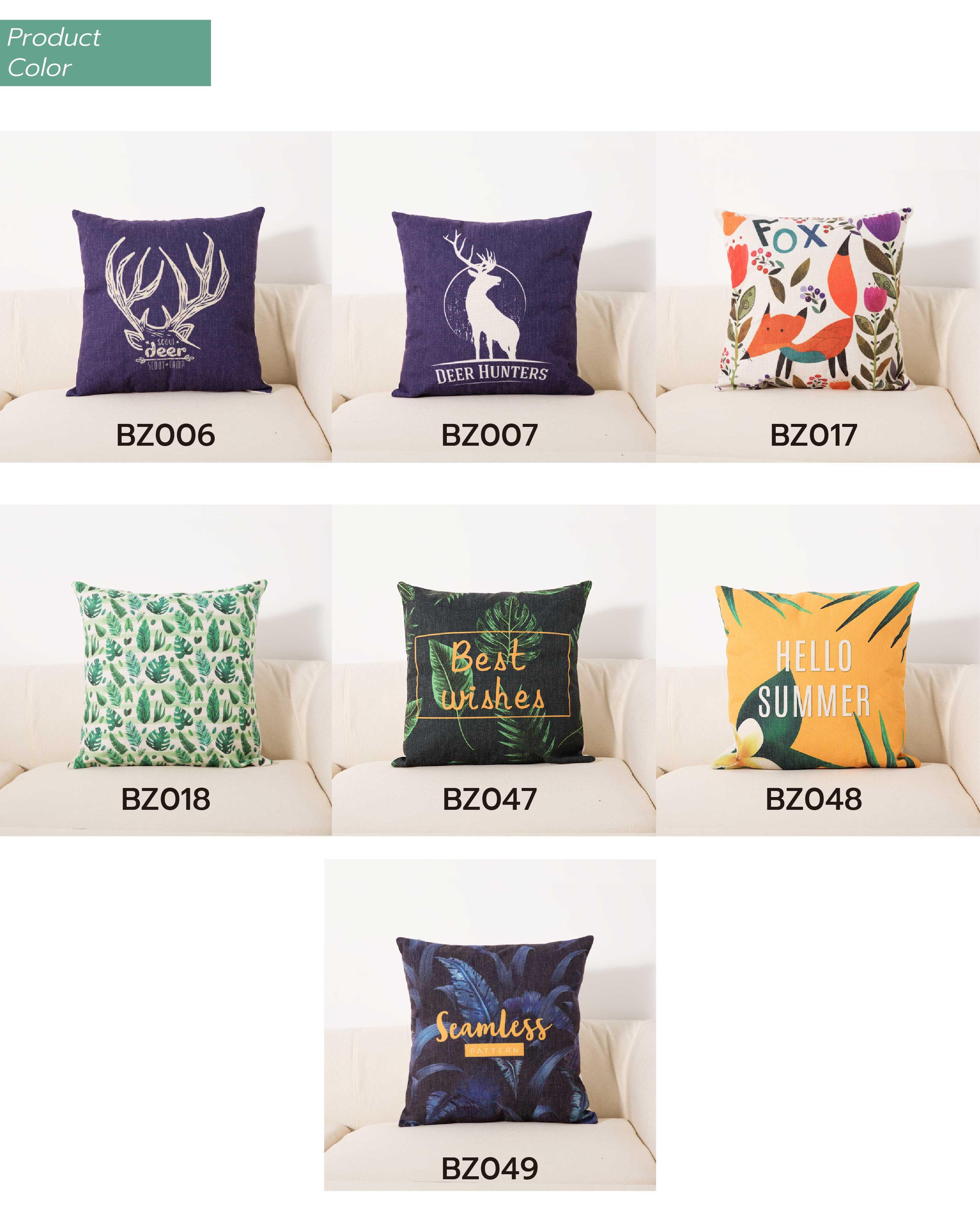 Deer Cushion Cotton Two side printed linen Cartoon stripes tropical plants European style