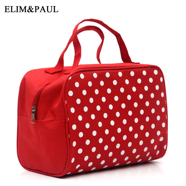 Fashion dot double handle cosmetic bag Makeup storage bag portable travel  wash bag large capacity waterproof dust easy clear f01fc7512b706