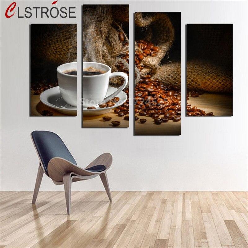 Clstrose Специальное предложение Лидер продаж Аннотация нет 4 панели ароматный Кофейные зерна на стене Книги по искусству изображение Кухня ук...