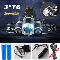 12000 Lumen Headlight LED CREE XML 3 T6 Headlamp Zoom Flashlight Torch Head Lights Lamp 2
