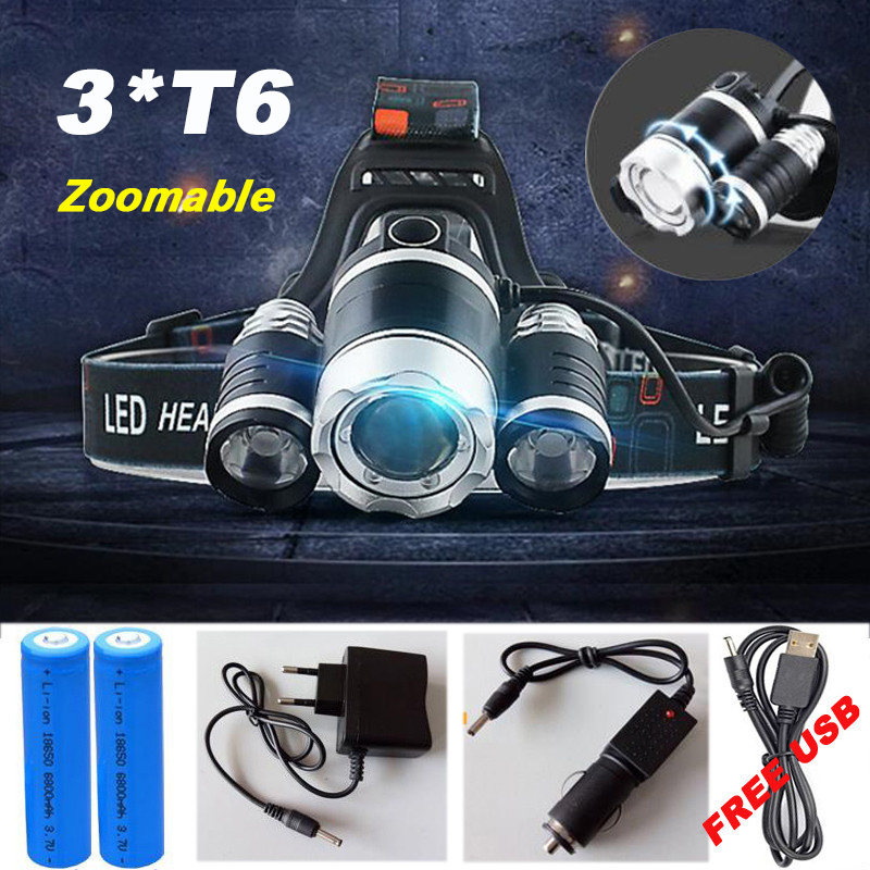 High quality 15000 Lumens Headlight LED Headlamp CREE XML 3*T6 Zoom Headlamp Head Lights Lamp+2*18650 Battery+AC/Car/USB Charger