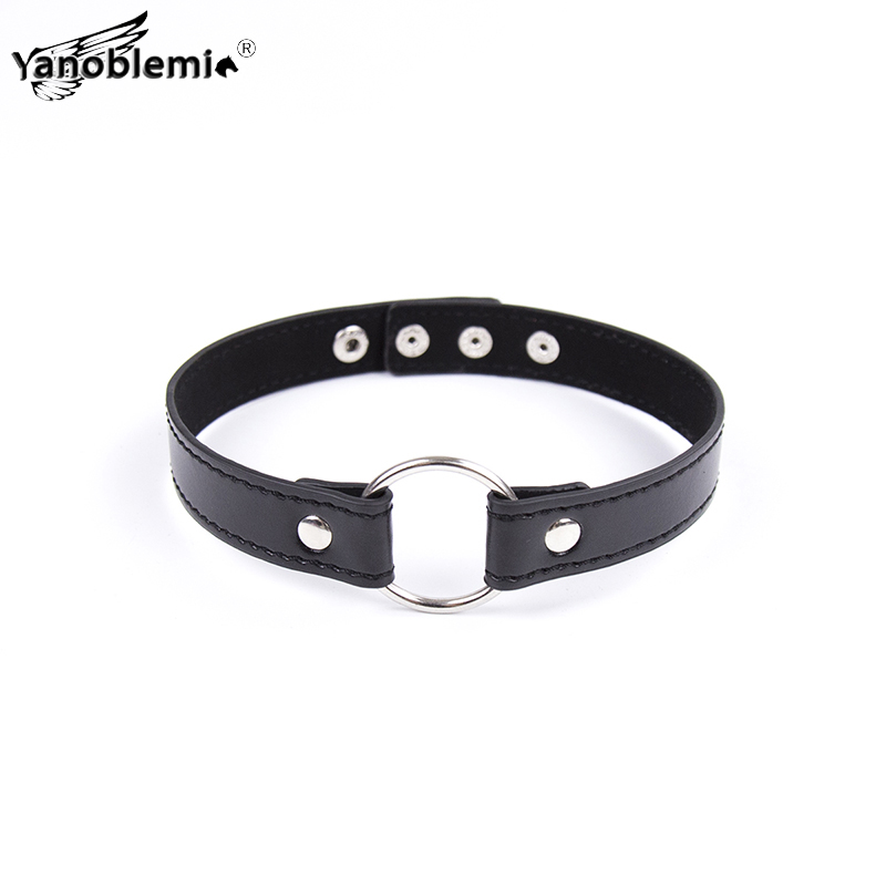 <font><b>Collar</b></font> Sex Toys For Woman PU Leather Metal Ring Fetish <font><b>Slave</b></font> <font><b>BDSM</b></font> Bondage Restraints Choker Necklace Adult Games Erotic Products image