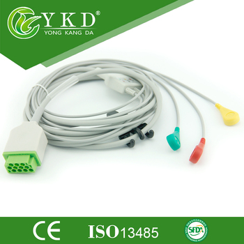 GE One-Piece Dash 2500 ECG cable with 3 lead IEC, snap,11pins