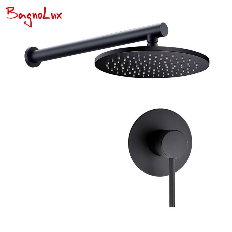 2017 al por mayor de promoción de estilo redondo sola manija pared negro mate baño ducha Sytem set mezclador de grifo con headshower