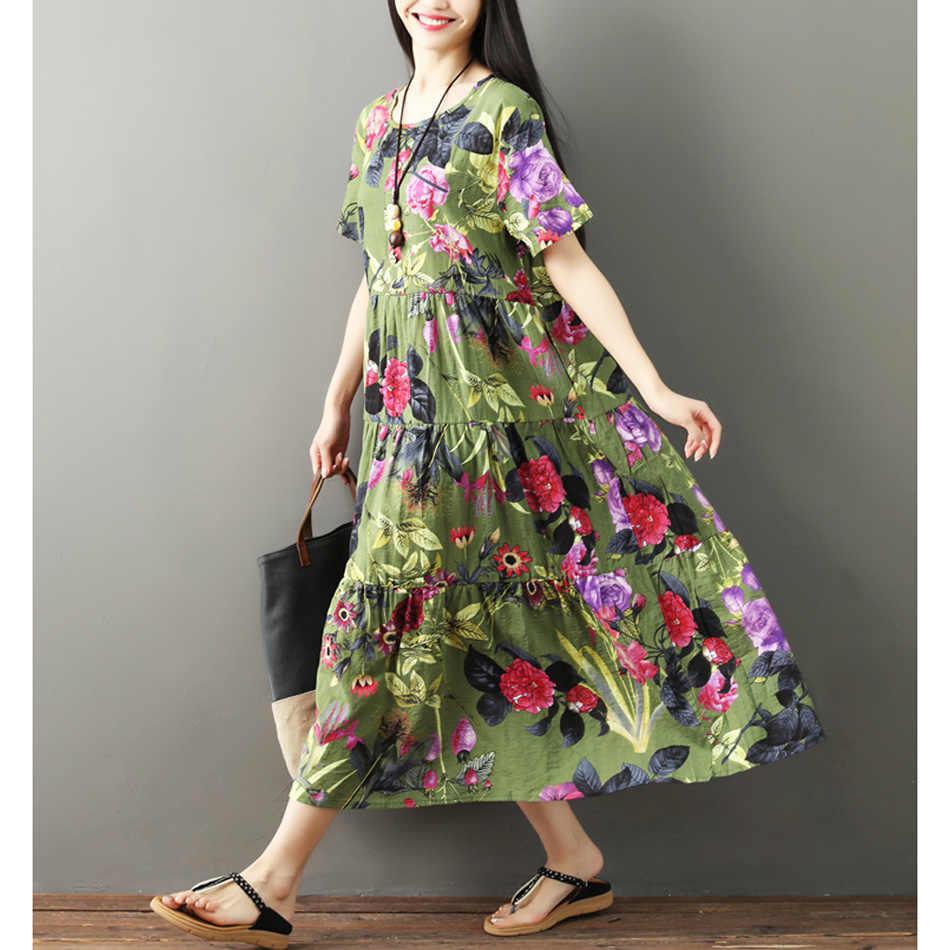 GUYUNYI 綿とリネンドレスヴィンテージプリーツプラスサイズの女性のカジュアルルース夏ドレス vestidos femininos ふくらはぎロング CX925